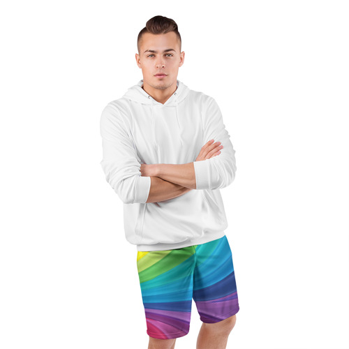 Мужские шорты 3D спортивные  Фото 05, Радуга