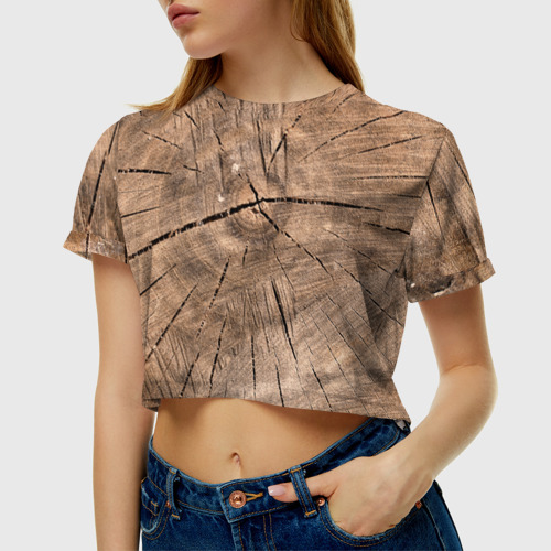 Женская футболка 3D укороченная  Фото 01, Дровосек