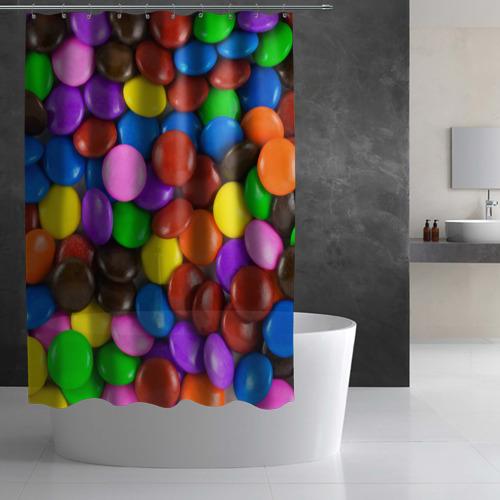 Штора 3D для ванной  Фото 03, Цветные конфетки