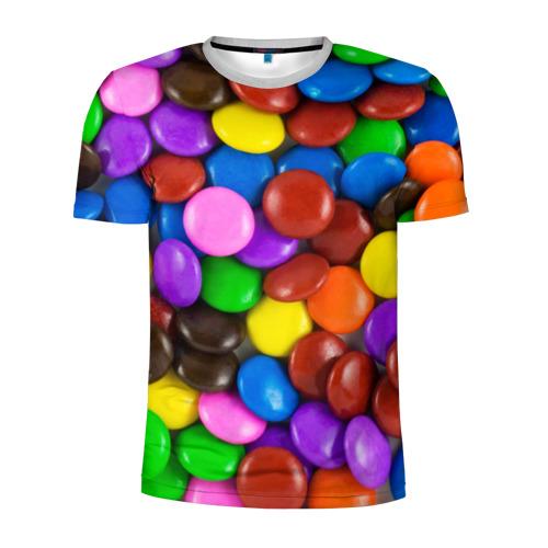 Мужская футболка 3D спортивная Цветные конфетки