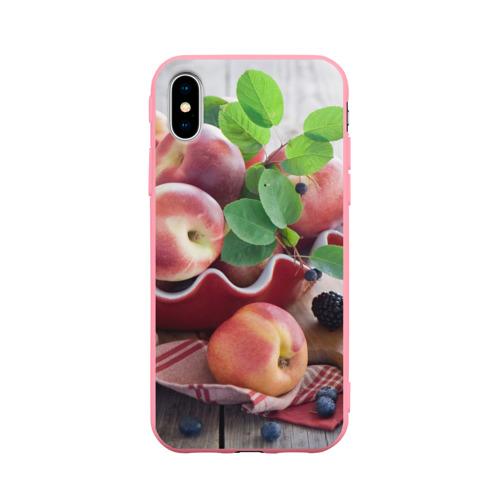 Чехол для Apple iPhone X силиконовый матовый Персики Фото 01