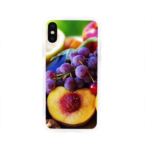 Чехол для Apple iPhone X силиконовый глянцевый  Фото 01, Спелые фрукты
