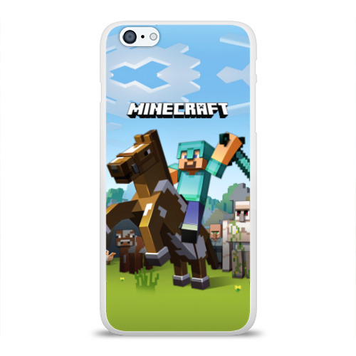 Чехол для Apple iPhone 6Plus/6SPlus силиконовый глянцевый  Фото 01, Minecraft на коне