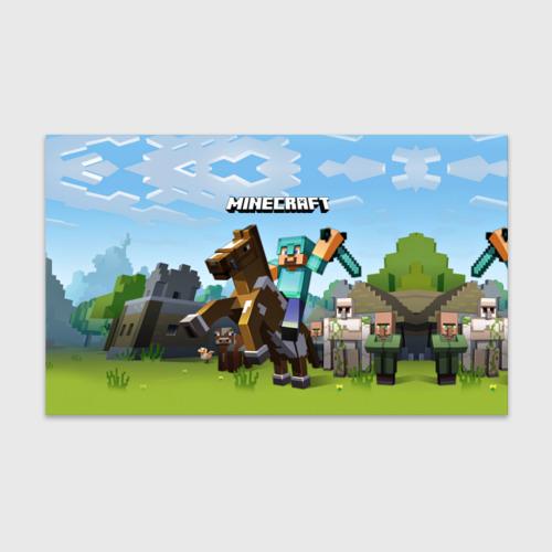 Бумага для упаковки 3D Minecraft на коне Фото 01