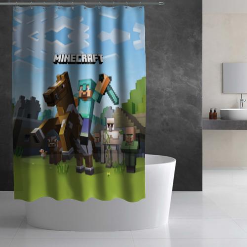 Штора 3D для ванной Minecraft на коне Фото 01