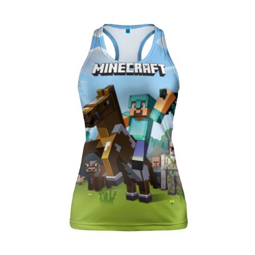 Женская майка 3D спортивная Minecraft на коне Фото 01
