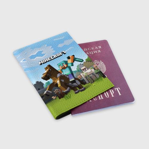 Обложка для паспорта матовая кожа Minecraft на коне Фото 01