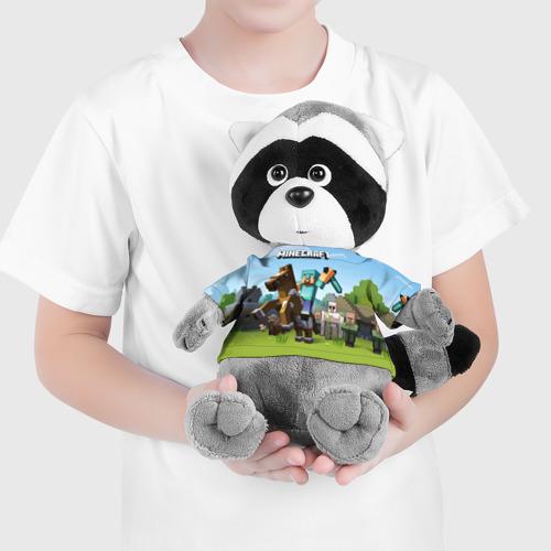 Енотик в футболке 3D Minecraft на коне Фото 01