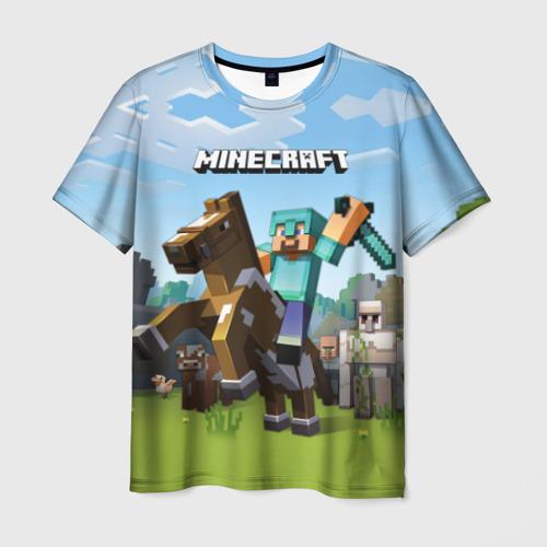 Мужская футболка 3D Minecraft на коне Фото 01
