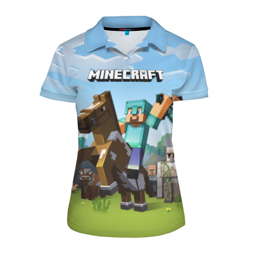 Женская рубашка поло 3D Minecraft на коне