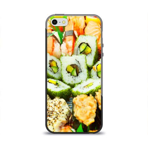 Чехол силиконовый глянцевый для Телефон Apple iPhone 5/5S Роллы и Суши