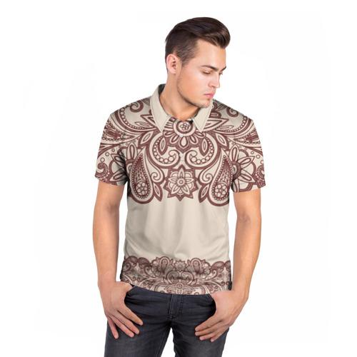 Мужская рубашка поло 3D  Фото 05, Цветочное обрамление