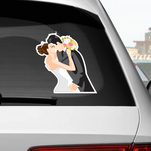 Наклейка на автомобиль  Фото 02, Свадебный поцелуй