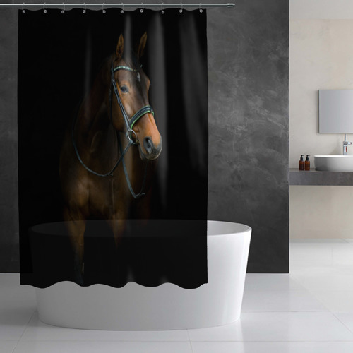 Штора 3D для ванной Породистый жеребец Фото 01