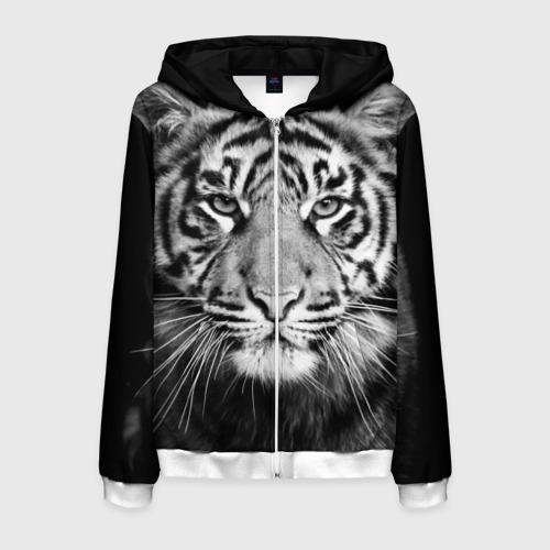 Мужская толстовка 3D на молнии Красавец тигр Фото 01