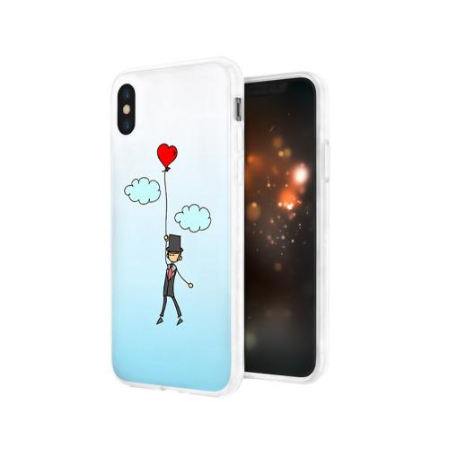 Чехол для Apple iPhone X силиконовый глянцевый  Фото 03, Жених на шарике