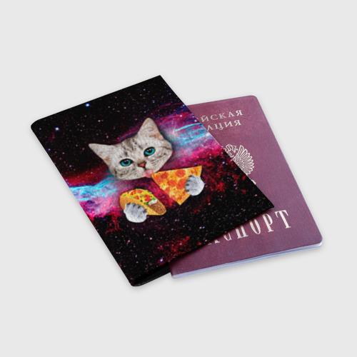 Обложка для паспорта матовая кожа Кот с едой Фото 01