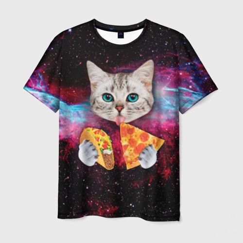 Мужская футболка 3D Кот с едой Фото 01