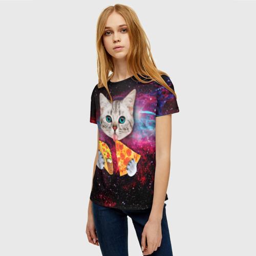 Женская футболка 3D Кот с едой Фото 01