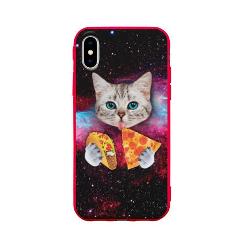 Чехол для Apple iPhone X силиконовый матовый Кот с едой Фото 01
