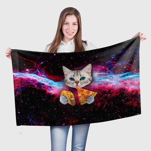 Флаг 3D Кот с едой Фото 01