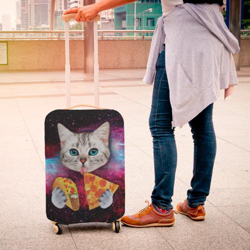 Чехол для чемодана 3D  Фото 04, Кот с едой