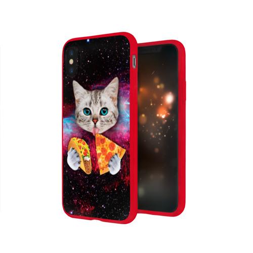 Чехол для Apple iPhone X силиконовый глянцевый Кот с едой Фото 01
