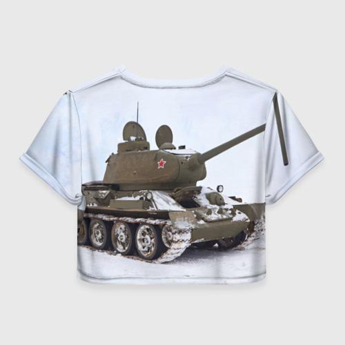 Женская футболка 3D укороченная  Фото 02, Танк т34-85