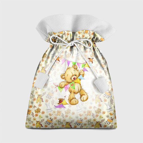 Подарочный 3D мешок Мишка Тедди и флажки