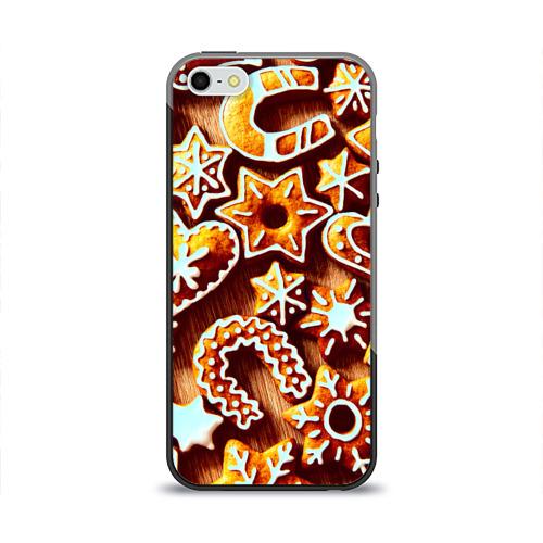 Чехол силиконовый глянцевый для Телефон Apple iPhone 5/5S Новогоднее печенье от Всемайки