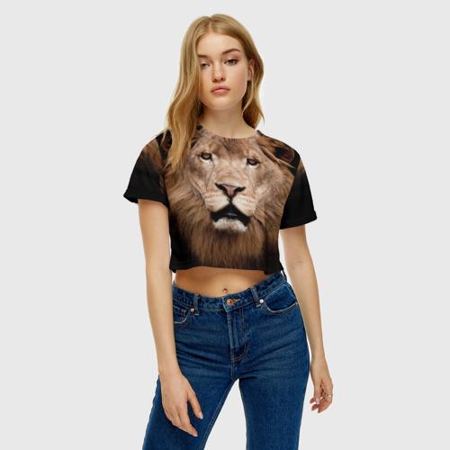 Женская футболка 3D укороченная  Фото 04, Царь зверей