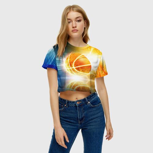 Женская футболка 3D укороченная  Фото 04, Баскетбол - жизнь моя