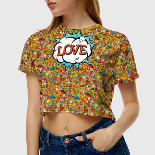 Женская футболка 3D укороченная  Фото 01, Поп-арт 1