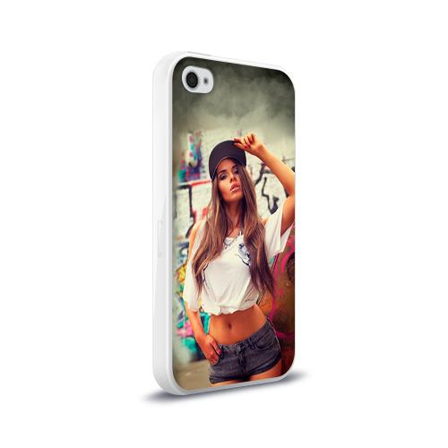 Чехол для Apple iPhone 4/4S силиконовый глянцевый  Фото 02, Девушка в кепке