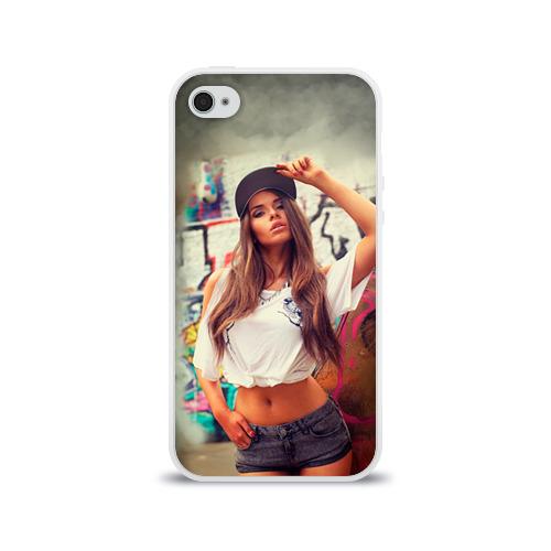 Чехол для Apple iPhone 4/4S силиконовый глянцевый  Фото 01, Девушка в кепке