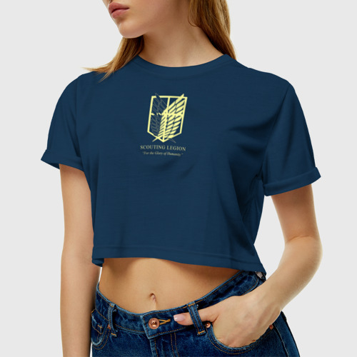 Женская футболка 3D укороченная  Фото 01, Атака титанов, Гарнизон