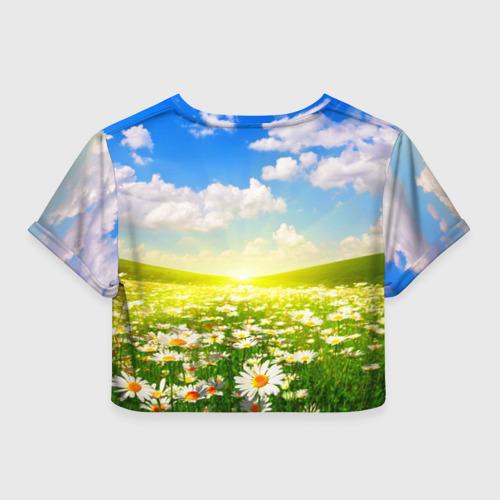 Женская футболка 3D укороченная  Фото 02, Ромашки