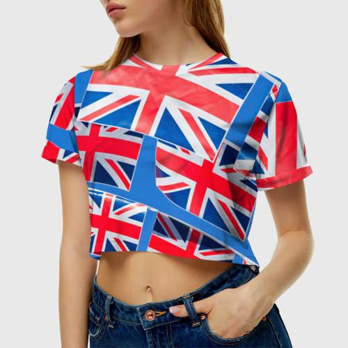 Женская футболка 3D укороченная  Фото 01, Британские флаги