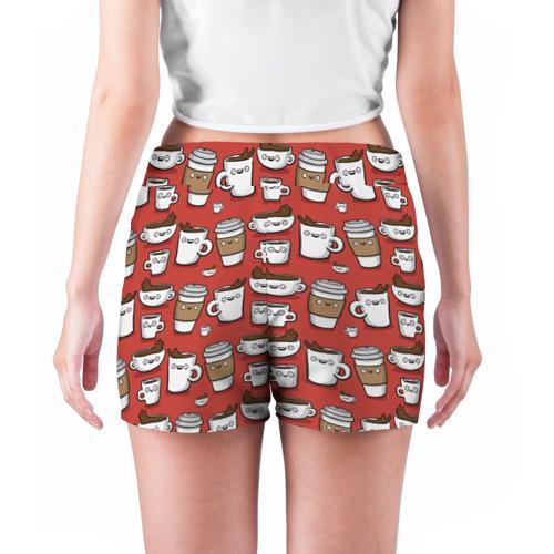 Женские шорты 3D  Фото 04, Веселые чашки кофе