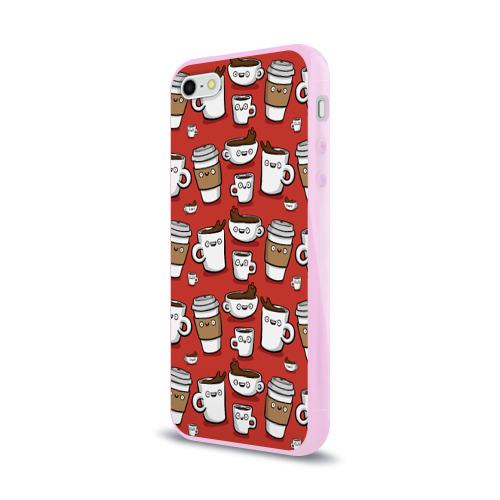 Чехол для Apple iPhone 5/5S силиконовый глянцевый Веселые чашки кофе Фото 01