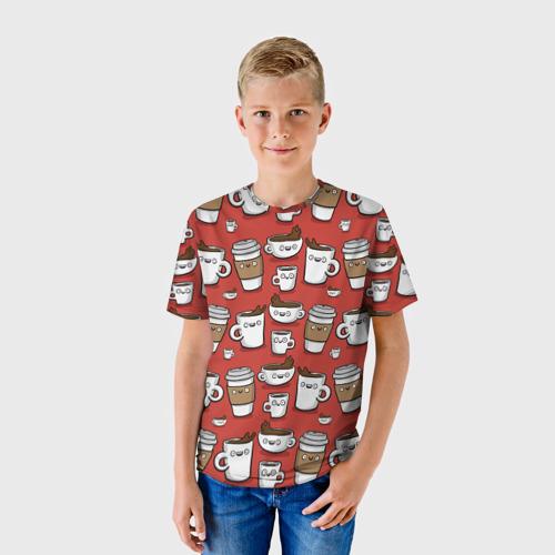 Детская футболка 3D Веселые чашки кофе