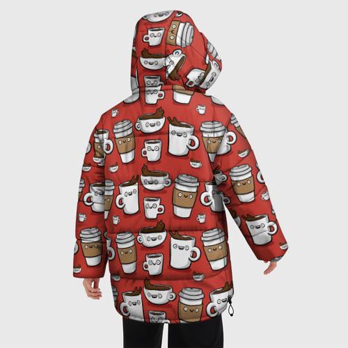 Женская зимняя куртка Oversize Веселые чашки кофе Фото 01