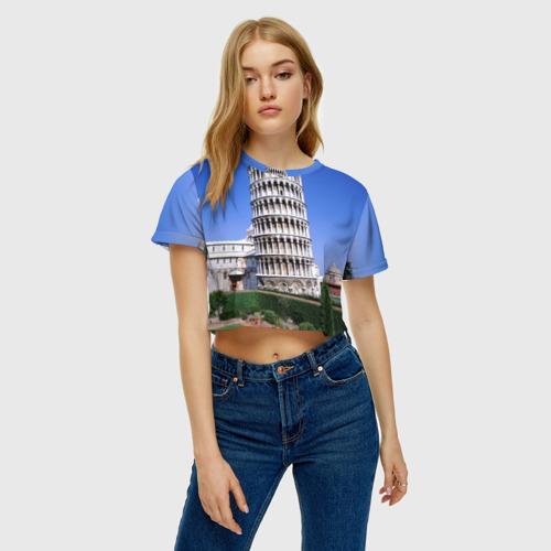 Женская футболка 3D укороченная  Фото 04, Пизанская башня