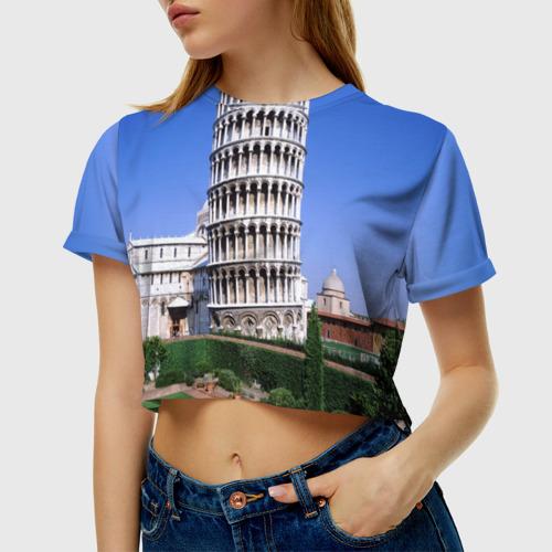 Женская футболка 3D укороченная  Фото 01, Пизанская башня