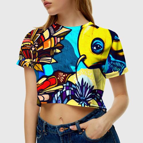 Женская футболка 3D укороченная  Фото 01, Граффити