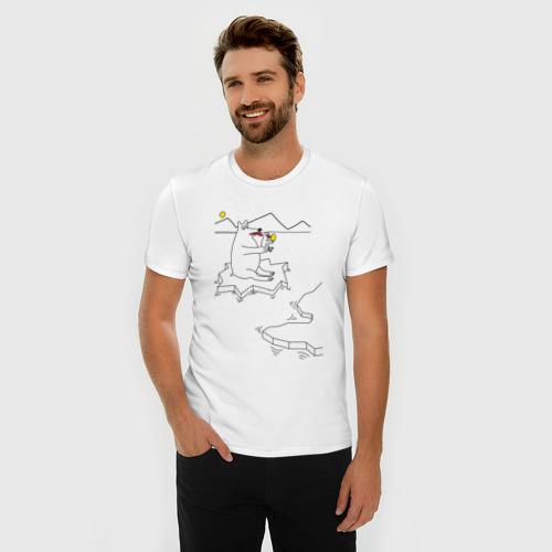 Мужская футболка премиум  Фото 03, Медведь на льдине