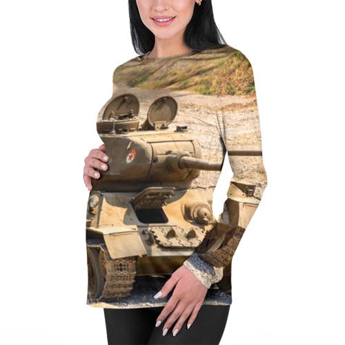 Женский лонгслив 3D для беременных  Фото 01, Танк т34-85