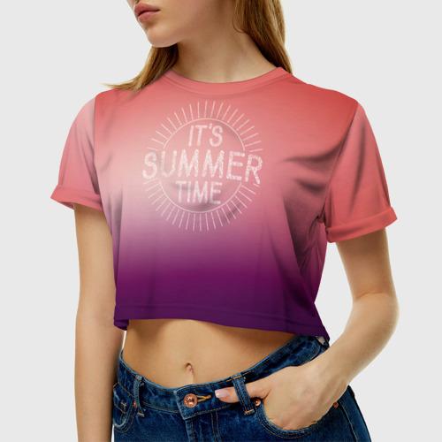 Женская футболка 3D укороченная  Фото 01, IT`S SUMMER TIME