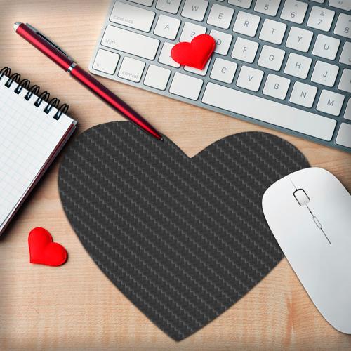 Коврик для мыши сердце  Фото 02, Карбон