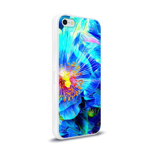 Чехол для Apple iPhone 5/5S силиконовый глянцевый Голубой цветок Фото 01